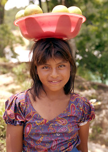 CHIAPAS, MEXICO - At Aqua Azul we met this charming young Mexican girl selling oranges.