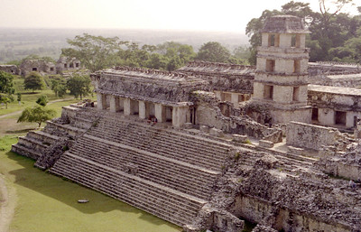 PALENQUE, MEXICO - Built on a giant trapezoidal platform, the Palace is nearly as long as football field. Steam baths and water distribution installations have been found in this building, something that leads to the idea that it may have actually been a royal dwelling in its time.