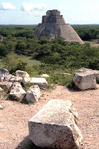 UXMAL, MEXICO - Yet another view of the Pyramid of the Magician. Uxmal was one of the largest cities of the Yucatán peninsula, and at its height was home to about 25,000 Maya. Like the other Puuc sites, it flourished in the Late Classic period (around 600-900AD).