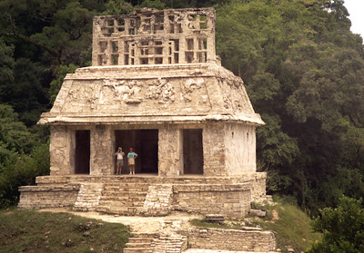 PALENQUE, MEXICO - The Temple of the Cross gets its name from the cruciform that appears on a relief carving found inside the structure.  In reality however, this cross-like element is a representation of the world tree, a sacred symbol of the Maya.