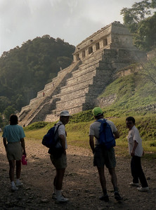 PALENQUE, MEXICO - The next morning, with great anticipation, we made our way up a wooded pathway.  The fog was just lifting, and we were approaching our first Maya pyramid.