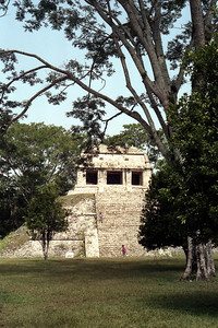 PALENQUE, MEXICO - The Temple of the Count is a small temple on the northern side of Palenque's grand plaza.  Also built during Pacal's lifetime, the temple got its modern name after the artist/adventurer, Count de Waldek who camped out in the temple in 1831 while creating fanciful illustrations of the site.