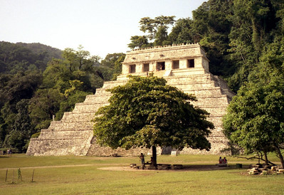 PALENQUE, MEXICO - The Temple of Inscriptions got its name from the three stucco panels with hieroglyphic inscriptions that were found on its walls. It rises 75 feet high; the upper chambers and roofcomb add an additional 40 feet.