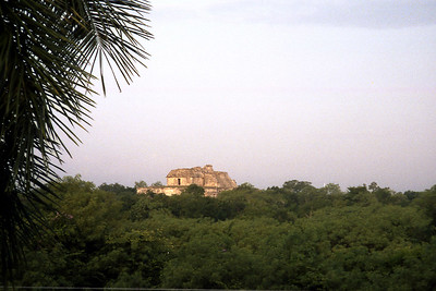 UXMAL, MEXICO - A 300-mile drive brought us to the Uxmal Hacienda. When we opened the doors off of our room, greeting us in the fading light of the evening was this scene of a Mayan ruin (the Pyramid of the Magician).