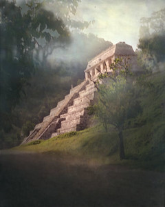 PALENQUE, MEXICO - This is the sight that ignited our interest in the Maya.  Our first Maya ruin - the Temple of the Inscriptions - appeared almost mystically out of the mist as we approached the ancient Maya city of Palenque early on the morning of August 27, 1991.
