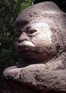 "VILLAHERMOSA, MEXICO - This Olmec statue, called ""The Grandmother"" from La Venta is thought to represent a dwarf."