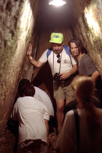 PALENQUE, MEXICO - It was a tight squeeze at the bottom of the once-hidden stairway as visitors tried to get a peak into the burial chamber of Pacal.