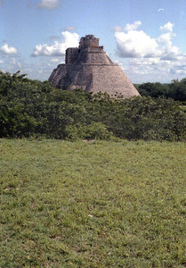 UXMAL, MEXICO - Approaching the Uxmal site, we realized that what we had seen the evening before was simply the upper portion of a gigantic pyramid - the Pyramid of the Magician.