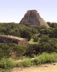 UXMAL, MEXICO - Still another view of the Pyramid of the Magician.  Its rounded edge was unlike any we had seen - or would see - in the ancient Maya world.