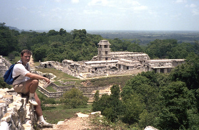 PALENQUE, MEXICO - Positioned in front of the Temple of Inscriptions, the Palace is actually a complex of several connected and adjacent buildings and courtyards built up over several generations on a wide artificial terrace. Its distinctive four-story tower may have served as observatory or watchtower.