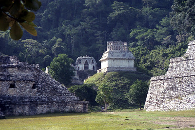 PALENQUE, MEXICO - The Temple of the Cross is typical of the style of Palenque with an elaborate roofcomb, or cresteria, that crowns its roof.