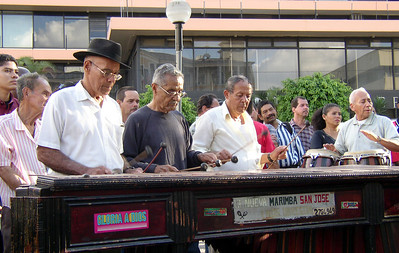 SAN JOSE, COSTA RICA - Around 5 p.m. each day a band of several retired musicians called La Neuva Marimba San Jose conducts an impromptu concert in the middle of the city.
