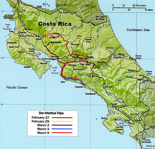 "COSTA RICA - Virtually all the logistics of our trip - 7 hotel reservations and 8 bus ""transfers"" - were made individually over the Internet.  Our route carried us through the Central Valley and down the Pacific coast."