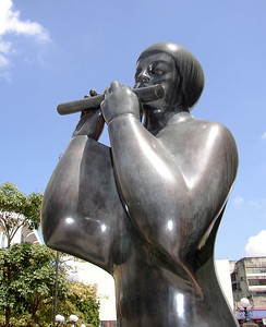 SAN JOSE, COSTA RICA - Outside the National Theater we found this interesting and very modern sculpture of a flutist.
