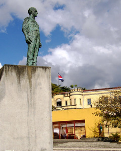 "SAN JOSE, COSTA RICA -  A statue of the country's revolutionary leader ""Don Pepe"" Figueres stands in the Plaza de la Democracia at the foot of the fortress.  Somehow we expected him to be more imposing."