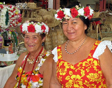 PAPEETE, TAHITI - The color of the islands is also present in the flowers and dresses worn by the local women.