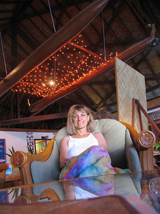 HUAHINE, POLYNESIA - We were awed by the exquisite decor, such as the lighted outrigger hanging in the open air reception lobby.