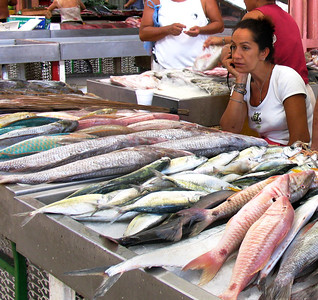 PAPEETE, TAHITI - Fish of every species -- and color -- are available, although at this particular moment, business seemed a little slow.
