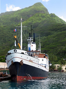 HUAHINE, POLYNESIA - After a night sail, the Amazing Grace docked at Huahine's capital and largest city, Fare.