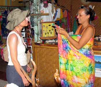 HUAHINE, POLYNESIA - Back in the capital city of Fare, we stopped by a local shop and Jeanne got a quick lesson in how to tie a paraeo - a lesson that would prove exceedingly valuable as our trip continued.