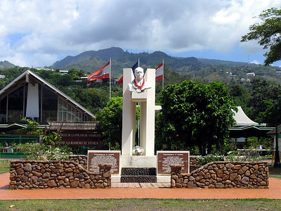 PAPEETE, TAHITI - The monument is to Pouvanaa a Oopa, a Tahitian World War I hero who led the islands' struggle for independence.  In 1958 as vice president of the Council of Government, he announced a plan to secede from France and form an independent Tahitian republic.  Although he was subsequently arrested and the movement collapsed, he is considered one of the country's great nationalists.  Each morning, a government bureaucrat mounts a ladder and places a fresh lei around the neck.