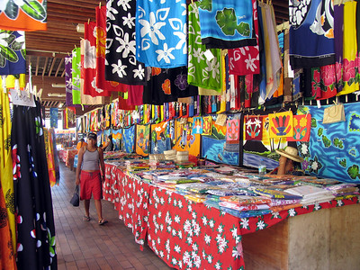 PAPEETE, TAHITI - Color abounds everwhere, such as this market in Papeete.