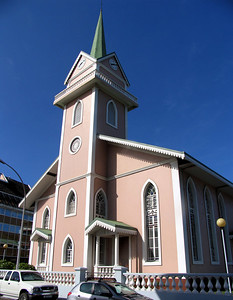 PAPEETE, TAHITI - The Eglise Evangelique, with its impressive steeple, is the largest Protestant church in French Polynesia.  The local evangelical sect grew out of the early work by the London Missionary Society. Today the pastors are Tahitian.