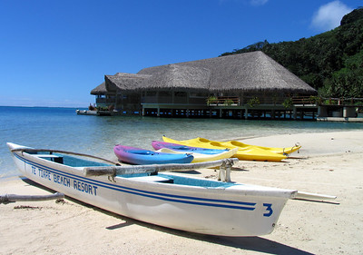 HUAHINE, POLYNESIA - Our hotel was the elegant Te Tiare Resort, about a 10 minute boat ride from Fare and reachable only by boat.