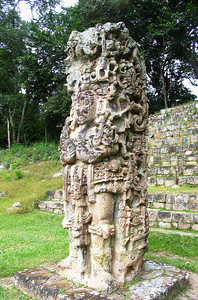 "COPAN, HONDURAS - Stela D is the northern stela of the Great Plaza. Its eloquent imagery presents ""18-Rabbit"" in the guise of an old god."