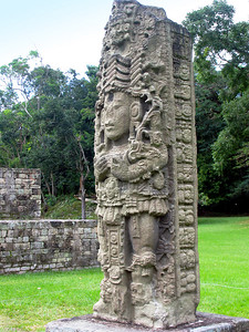 "COPAN, HONDURAS - Perhaps the most beautiful of the stelae in the Great Plaza, depicts ""18 Rabbit"" (Waxaklajuun Ub'aah K'awiil).  There is no clear indication, however, of what the event is that he is dressed for. The date on this stela is for early 732 A.D. only 60 days after Stela H."