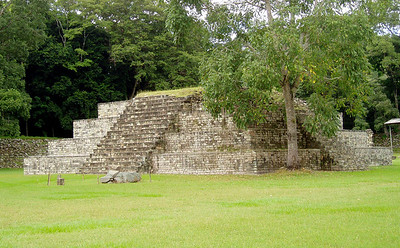 COPAN, HONDURAS - Copan is generally devoid of the towering pyramids that are characteristic of Maya sites like Tikal and Chichen Itza.  This stepped pyramid is at one end of the Great Plaza.