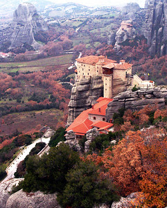 METEORA, GREECE - The Monastery of Saint Nicholas Anapapsas was built in the latter part of the 15th century.