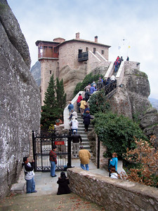 METEORA, GREECE - Today there are easier ways to access the Meteora monasteries.  This one, the Monastery of Saint Barbara Rousanou (probably named after the first hermit to live on the rock) could be reached by a wooded trail and a stone stairway.