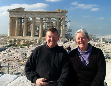 ATHENS, GREECE - Our co-travelers, Bob and Mary Schmidt, take a moment from their explorations of the Acropolis to be photographed with the Parthenon as the backdrop.