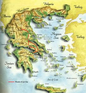 Our route would take us through 550 miles of mainland Greece, beginning and ending at Athens, through Corinth, Delphi, and Meteora.