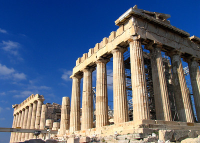 ATHENS, GREECE - As hard as it is to believe today, the Parthenon was not always held in such high esteem.  The Ottomans used it to store gunpowder, and in 1687 it suffered its greatest blow when attacking Venetians fired a mortar and blew it apart.  Today a reconstruction project is underway to repair as much of the explosion damage as possible.