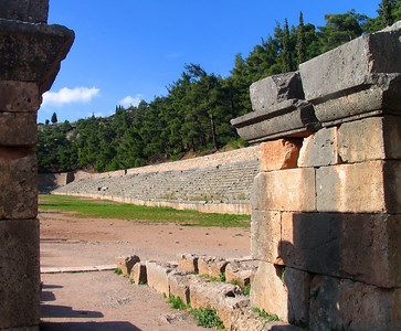 DELPHI, GREECE - At the very top of the hillside overlooking the Delphi sanctuary are the ruins of a stadium.  Here the second-most important sporting event was held in Greece - the Pythian Games (the Olympics were, of course, the most significant).  Among the sports were chariot races that would race around the narrow oval infield.