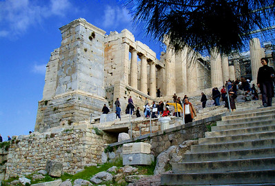 ATHENS, GREECE - To reach the top of the Acropolis, visitors climb the steps to the Propylea, the entryway to perhaps the greatest architectural masterpiece on the planet.