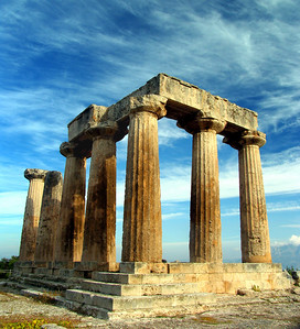 CORINTH, GREECE - The Temple of Apollo is Corinth's dominant feature. Built in 550 B.C., it was one of the buildings preserved by the Romans when they rebuilt the site in 46 B.C. (after having razed it a century before).