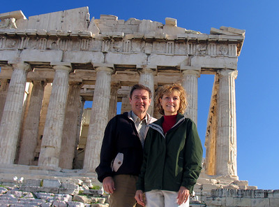 "ATHENS, GREECE - Our ""we were there"" photograph.  On Saturday, December 2, 2006, we checked off one of most breathtaking ""1000 Places"" we hope to visit - the Parthenon atop the Acropolis."