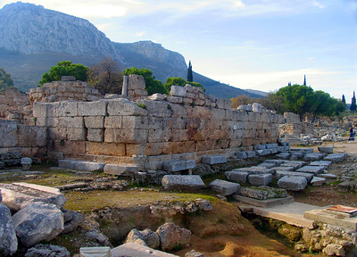 """CORINTH, GREECE - The wicked ways of the ancient Corinthians so raised the ire of St. Paul the Apostle that he spent 18 months preaching in Corinth from 51 to 52 A.D. before being dragged to this platform, called the bema, and accused of """"persuading people to worship God in ways contrary to the law."""""""