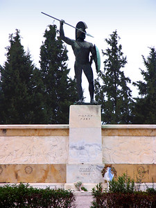 """THERMOPYLAE, GREECE - Under steadily darkening skies, we left Kalambaka on our way back to Athens.  Along the way we traveled through the Pass of Thermopylae (""""Hot Gates"""") where in 480 B.C. a band of 300 Spartans and 700 Thespians (the warriors, not the actors) held off a huge Persian army for three days, giving Athens time to prepare for the battle that would drive the Persians out of Greece and preserve democracy in the western world.  Today the pass is marked by a statue of Leonidas, the Spartan king who refused to retreat."""
