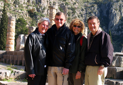 DELPHI, GREECE - Near the spot where the Oracle delivered her pronouncements we gathered for a group photo - believing we might also benefit from whatever divine powers might still be lingering at the site.  Mary and Bob Schmidt (on the left) are the good friends who accompanied us.