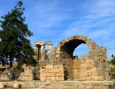 CORINTH, GREECE - The ruined archways call on our imagination to see the gleaming buildings that once were.