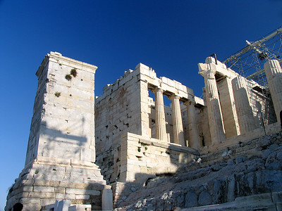 ATHENS, GREECE - The Propylea was built between 437 and 431 B.C. to control entrance to the Acropolis.  When we visited (in 2006), the entire right side of the structure was encased in scaffolding as part of a restoration effort for the Temple of Nike.