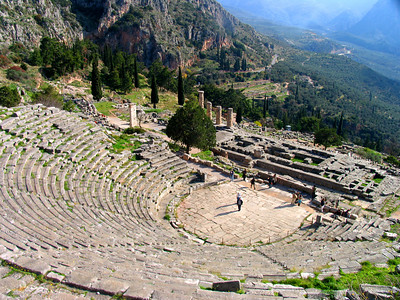 DELPHI, GREECE - When visitors to Delphi were not consulting the Oracle, they might have gathered in this theater with its spectacular view of the sanctuary and the valley below.  Built in the 4th century B.C., it accommodated 5,000 spectators.