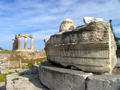 "CORINTH: ELEGANT RUINS IN GREECE'S FIRST ""SIN CITY"" - Our first stop was Corinth. In ancient times it was a rollicking town - one of Greece's richest trading centers and the site of a temple dedicated to Aphrodite, the goddess of love, where Greeks went to frolic with ""sacred"" courtesans."