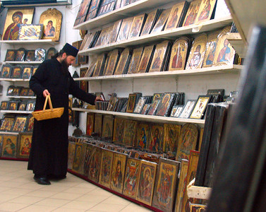 """METEORA, GREECE - The """"icon factory"""" outside of Kalambaka is the place where Greek Orthodox priests from throughout the region come to shop."""