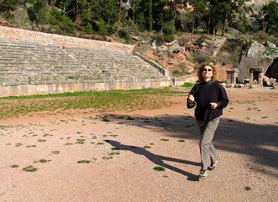 DELPHI, GREECE - Jeanne could hardly resist taking a lap or two, sprinting on the same ground that Greek athletes trod 3,000 years ago.