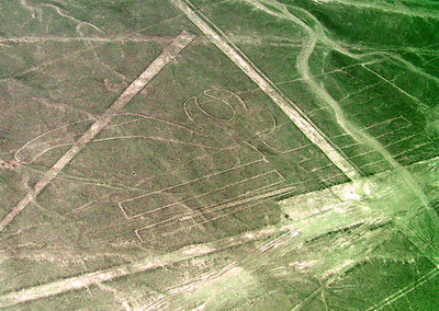 NAZCA LINES - Even when the lines suddenly emerge from the desert floor, it can be difficult to determine what they represent.  For example, this is how the Nazcas drew a parrot.